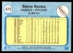 1982 Fleer #472  Steve Renko  Back Thumbnail