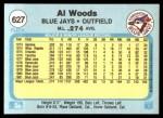 1982 Fleer #627  Alvis Woods  Back Thumbnail