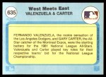 1982 Fleer #635   -  Fernando Valenzuela / Gary Carter West Meets East Back Thumbnail