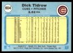1982 Fleer #604  Dick Tidrow  Back Thumbnail