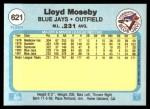 1982 Fleer #621  Lloyd Moseby  Back Thumbnail