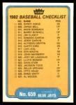 1982 Fleer #659   Blue Jays / Cubs Checklist Back Thumbnail