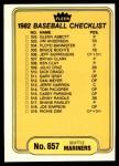 1982 Fleer #657   Mariners / Mets Checklist Front Thumbnail