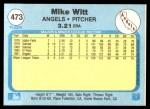 1982 Fleer #473  Mike Witt  Back Thumbnail