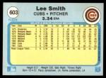 1982 Fleer #603 REV Lee Smith  Back Thumbnail