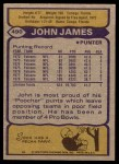 1979 Topps #490  John James  Back Thumbnail