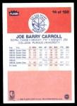 1986 Fleer #14  Joe Barry Carroll  Back Thumbnail