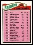1977 Topps #220   Raiders Team Checklist Front Thumbnail