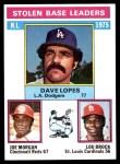 1976 Topps #197   -  Joe Morgan / Lou Brock / Dave Lopes  NL SB Leaders   Front Thumbnail