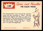 1960 Fleer Spins and Needles #49  The Kalin Twins  Back Thumbnail