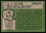 1978 Topps #22  A.J. Duhe  Back Thumbnail