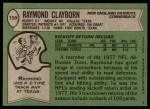 1978 Topps #158  Raymond Clayborn  Back Thumbnail