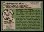 1978 Topps #277  Brian Baschnagel  Back Thumbnail