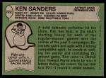 1978 Topps #222  Ken Sanders  Back Thumbnail