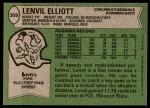 1978 Topps #309  Lenvil Elliott  Back Thumbnail