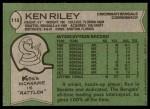 1978 Topps #115  Ken Riley  Back Thumbnail