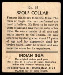 1947 Goudey Indian Gum #93   Wolf Collar Back Thumbnail
