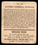 1947 Goudey Indian Gum #80   Saving Gen.Putnam Back Thumbnail