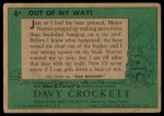 1956 Topps Davy Crockett Green Back #4   Out of My Way  Back Thumbnail