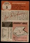 1953 Topps #5  Joe Dobson  Back Thumbnail