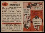 1957 Topps #45  Gary Knafelc  Back Thumbnail