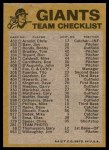1974 Topps Red Team Checklist   Giants Team Checklist Back Thumbnail