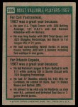 1975 Topps #205   -  Carl Yastrzemski / Orlando Cepeda 1967 MVPs Back Thumbnail