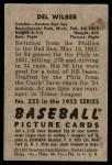 1952 Bowman #225  Del Wilber  Back Thumbnail