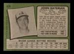 1971 Topps #628  John Bateman  Back Thumbnail