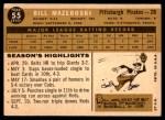 1960 Topps #55  Bill Mazeroski  Back Thumbnail