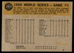 1960 Topps #385   -  Charlie Neal 1959 World Series - Game #1 - Neal Steals Second Back Thumbnail