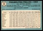 1965 Topps #338   Phillies Team Back Thumbnail