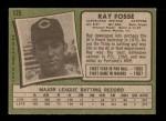 1971 Topps #125  Ray Fosse  Back Thumbnail