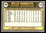 1981 Fleer #109  Willie Randolph  Back Thumbnail