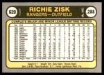 1981 Fleer #620  Richie Zisk  Back Thumbnail