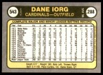 1981 Fleer #543  Dane Iorg  Back Thumbnail