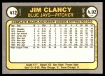 1981 Fleer #412  Jim Clancy  Back Thumbnail