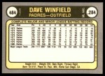 1981 Fleer #484  Dave Winfield  Back Thumbnail