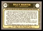 1981 Fleer #581  Billy Martin  Back Thumbnail