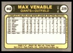 1981 Fleer #443  Max Venable  Back Thumbnail