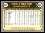 1981 Fleer #447  Bob Knepper  Back Thumbnail