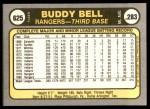 1981 Fleer #625  Buddy Bell  Back Thumbnail
