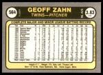 1981 Fleer #564  Geoff Zahn  Back Thumbnail