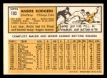 1963 Topps #193  Andre Rodgers  Back Thumbnail