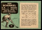 1970 O-Pee-Chee #92  Ken Schinkel  Back Thumbnail