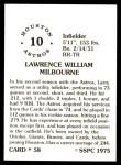 1976 SSPC #58  Larry Milbourne  Back Thumbnail