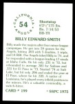 1976 SSPC #199  Billy Smith  Back Thumbnail