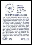 1976 SSPC #172  Rodney Scott  Back Thumbnail