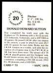 1976 SSPC #73  Don Sutton  Back Thumbnail