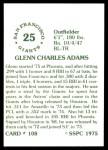 1976 SSPC #108  Glenn Adams  Back Thumbnail